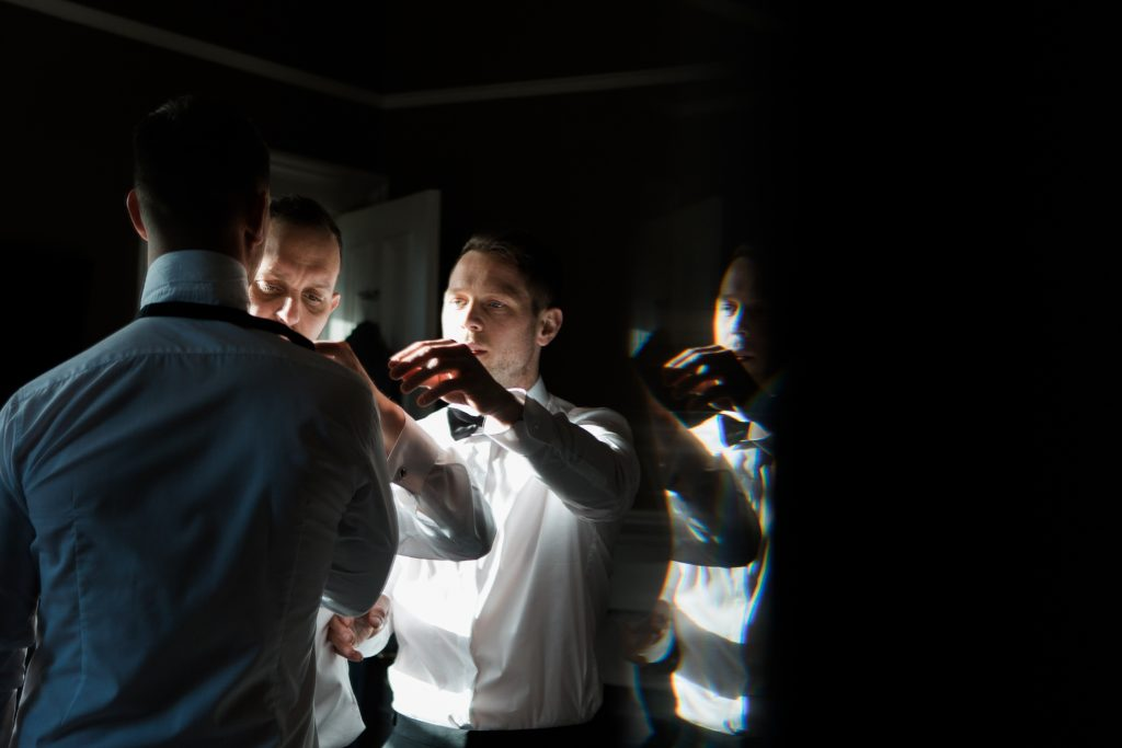 Groom prep at Carlowrie Castle wedding - photo