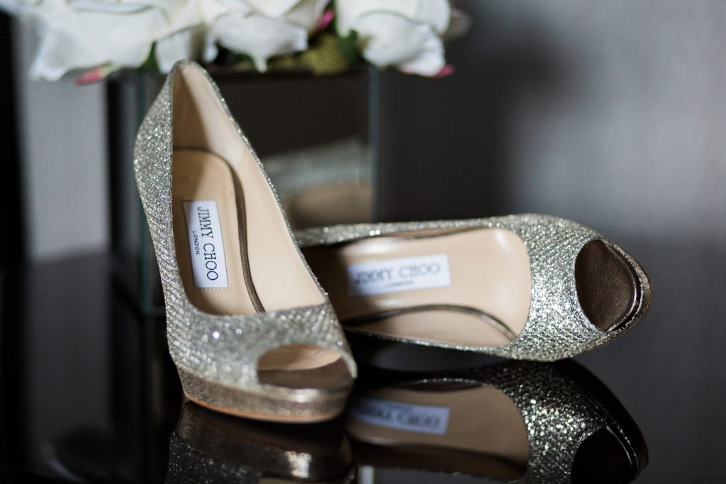 Jimmy Choo wedding shoes by Cheshire Wedding Photographer at Carlowrie Castle Wedding - photo