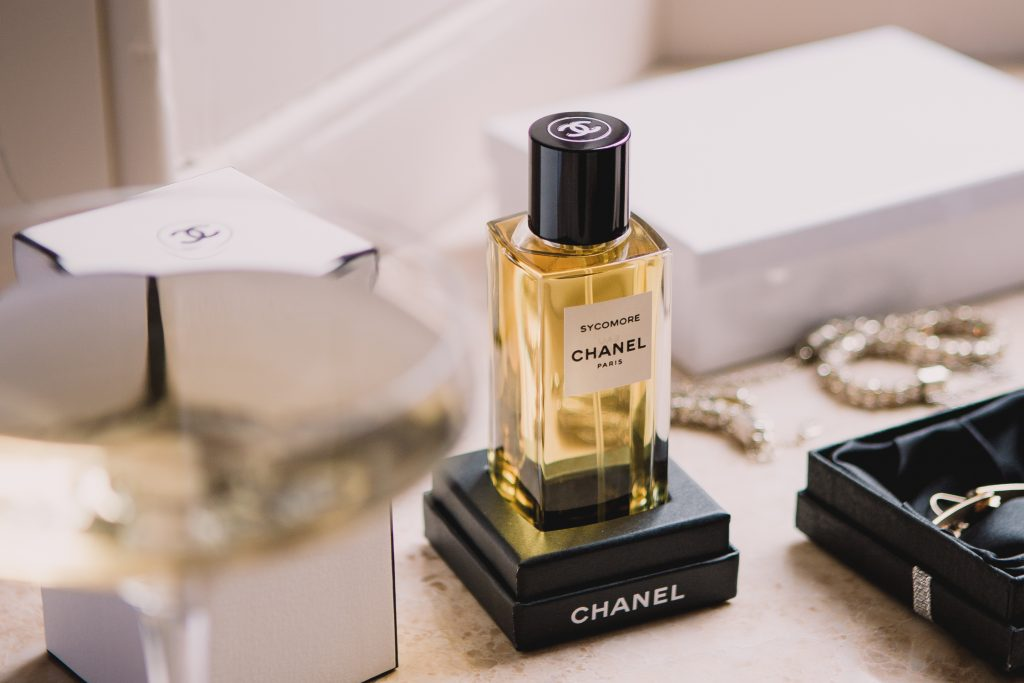 Chanel Sycamore perfume worn by bride at Carlowrie Castle Wedding