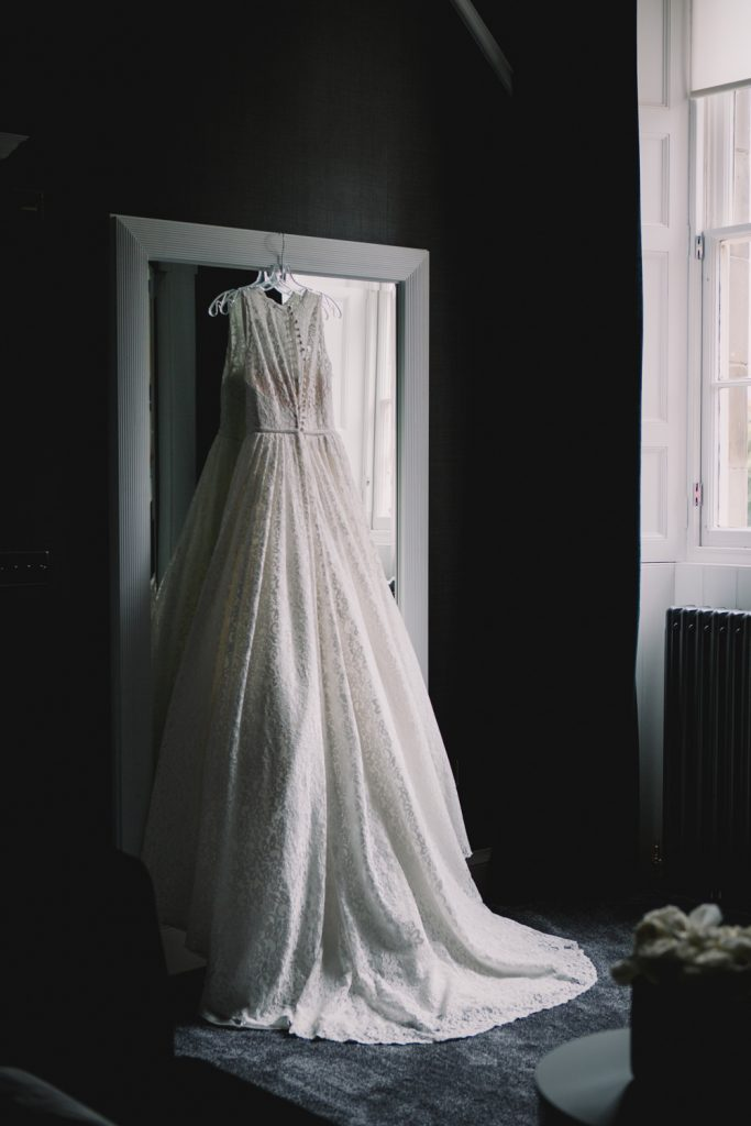 Scottish Castle Wedding at Carlowrie Castle Edinburgh featuring a Caroline Castigliano wedding dress.