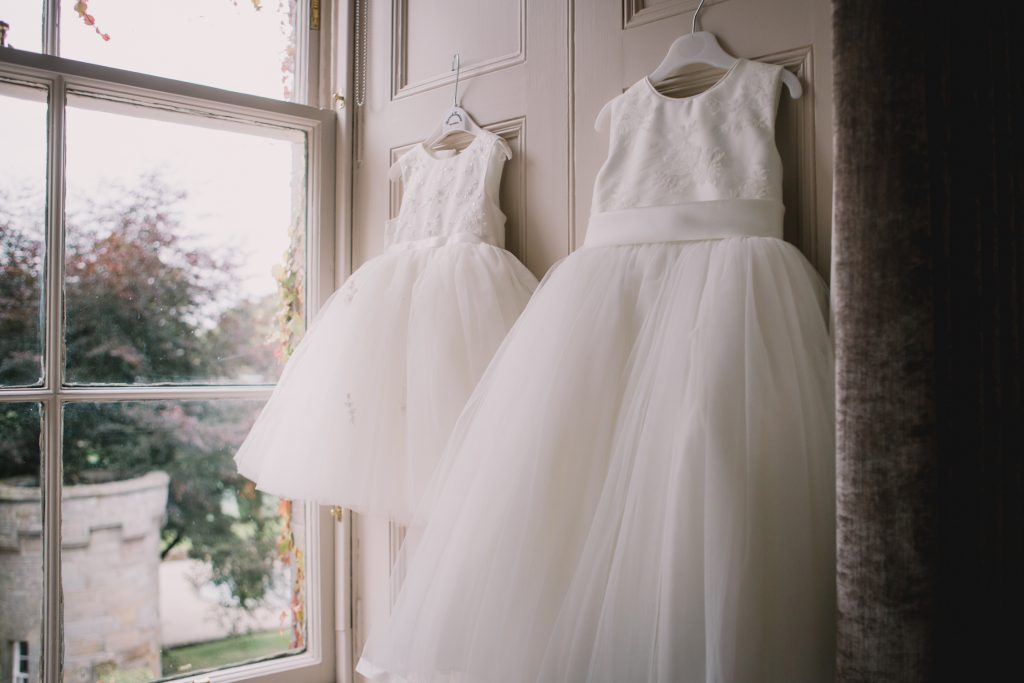 Bridesmaids dresses at Carlowrie Castle wedding photo