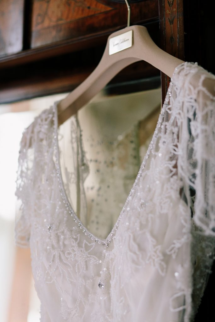 Details of Jenny Packham wedding dress at Dorfold Hall wedding photo