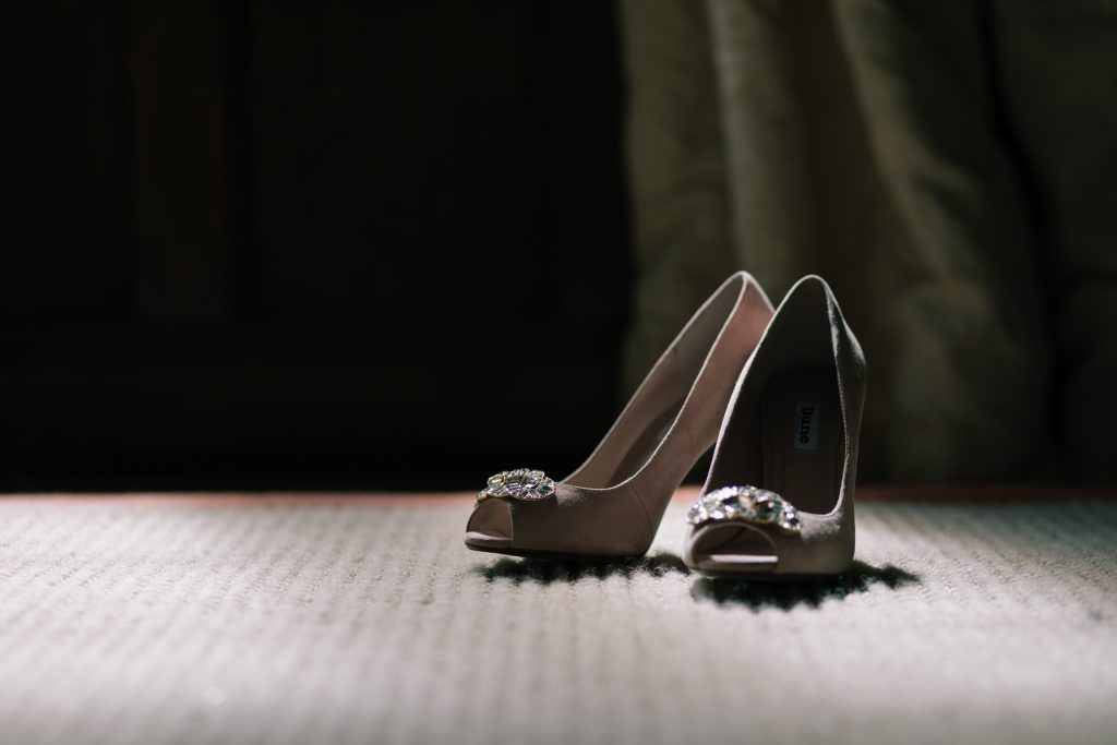 Wedding shoes at a Dorfold Hall wedding by Cheshire Wedding Photographer Jade Osborne.