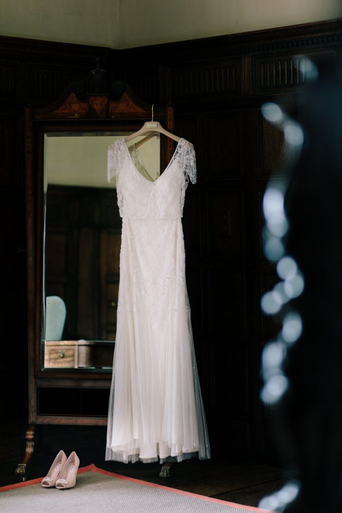 Jenny Packham Wedding Dress at Dorfold Hall in the bridal suite.