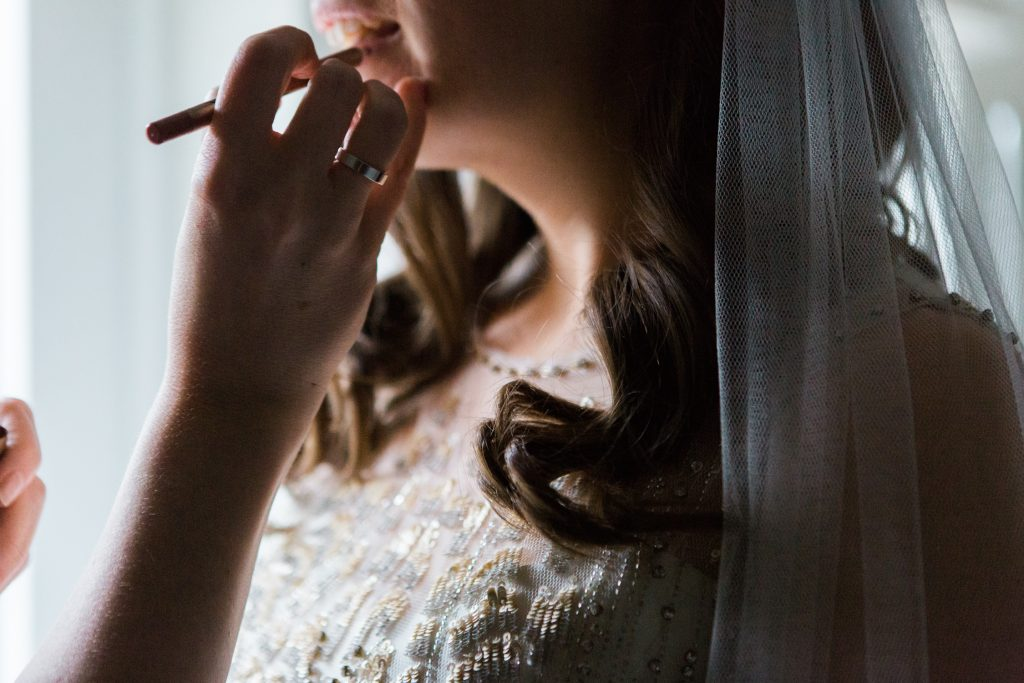 Bridal prep at Farbridge Barns wedding by Cheshire based Destination Wedding Photographer