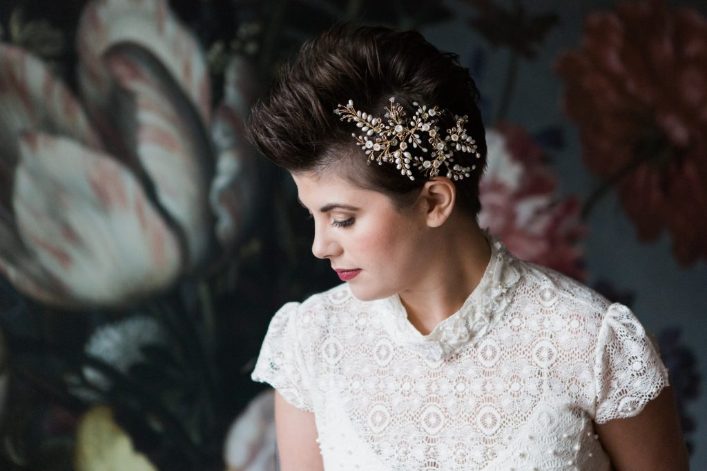 Bridal headpiece on editorial bridal shoot at Garthmyl Hall, Wales