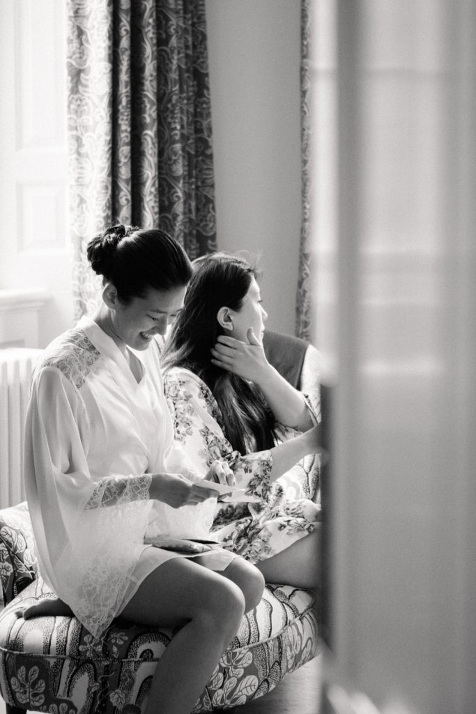 Candid bridal preparations at an elegant spring Iscoyd Park wedding photo