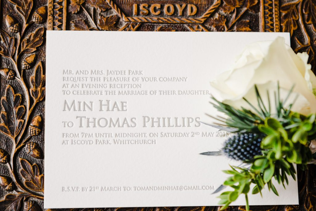Wedding Invitations for an Iscoyd Park wedding by UK Fine Art Wedding Photographer Jade Osborne Photography.