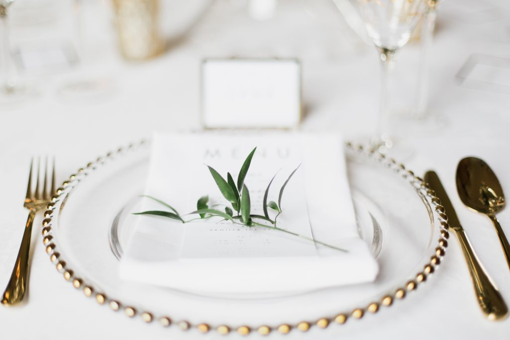 Wedding table details with gold foil menu cards captured by Cheshire wedding photographer Jade Osborne Photography.
