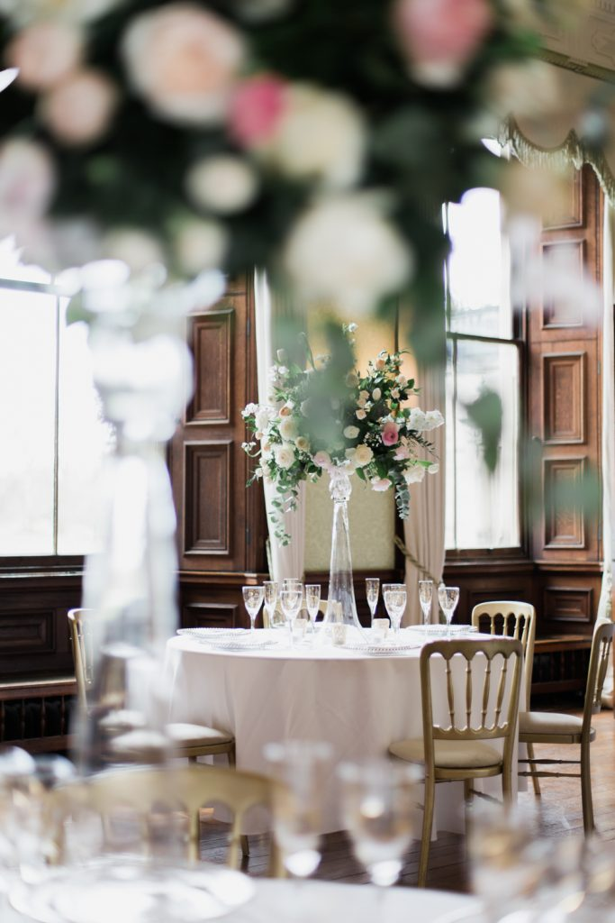 Wedding table settings at Sandon Hall by UK wedding photographer based in Cheshire.