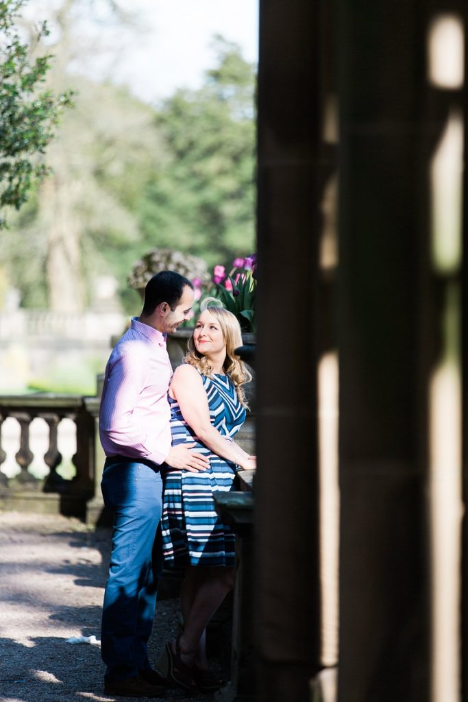 Engagement photography by Cheshire based wedding photographer Jade Osborne Photography at Trentham Gardens in Staffordshire.