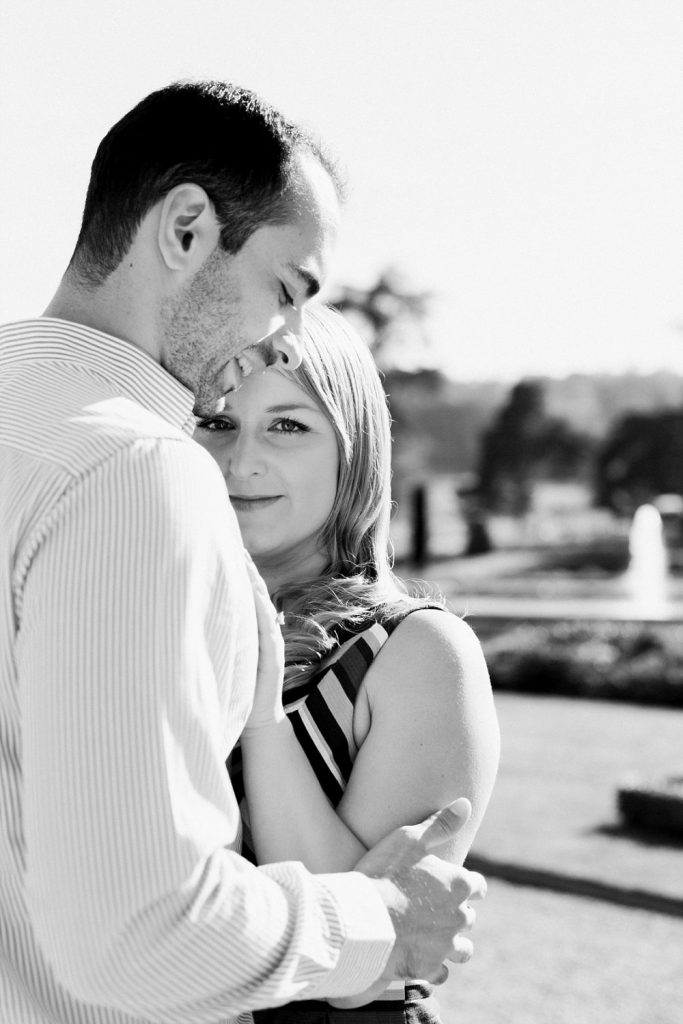 Black and white image from engagement shoot by Cheshire wedding photographer Jade Osborne Photography