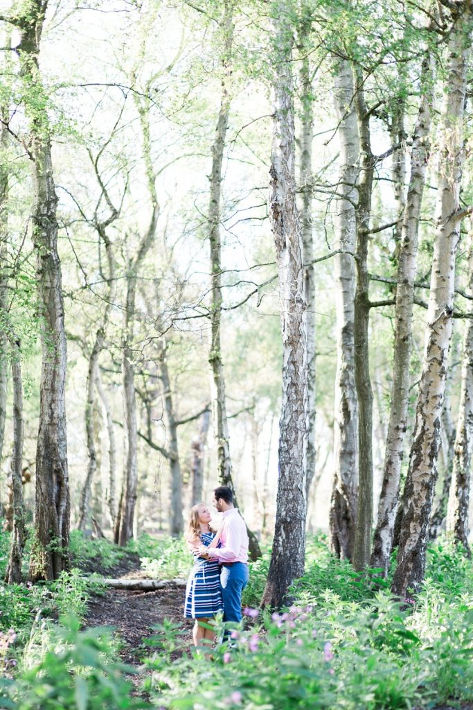 Couples photography in woodland at Trentham Gardens by Cheshire wedding photographer Jade Osborne Photography
