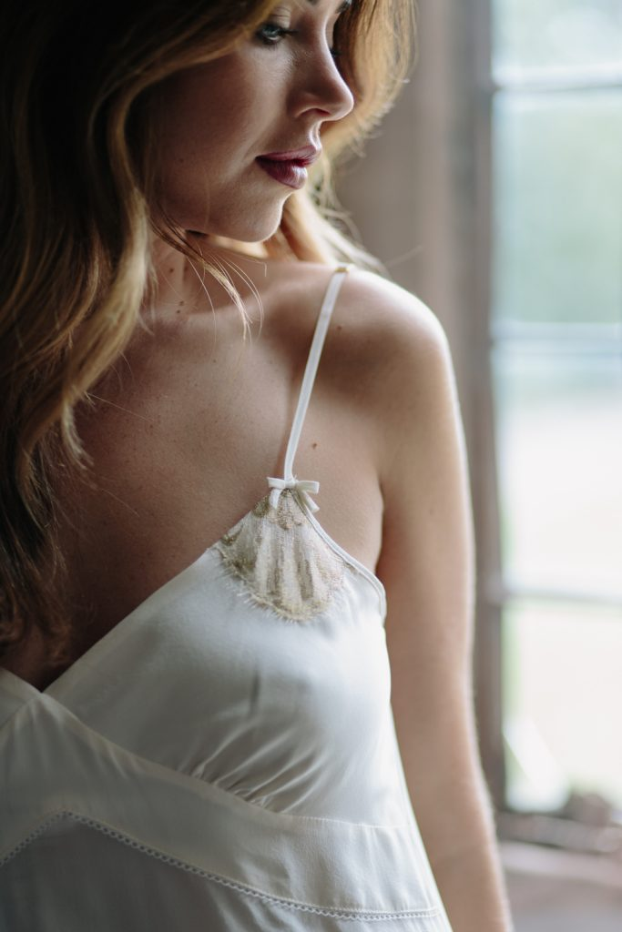 Shell Belle Couture ivory slip for boudoir photography session in the UK