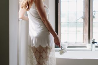 Shell Belle couture slip with gold lace for honeymoon lingerie