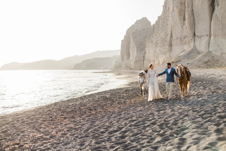 Cheshire UK Fine Art Wedding Photographer featuring destination wedding on a beach in Santorini