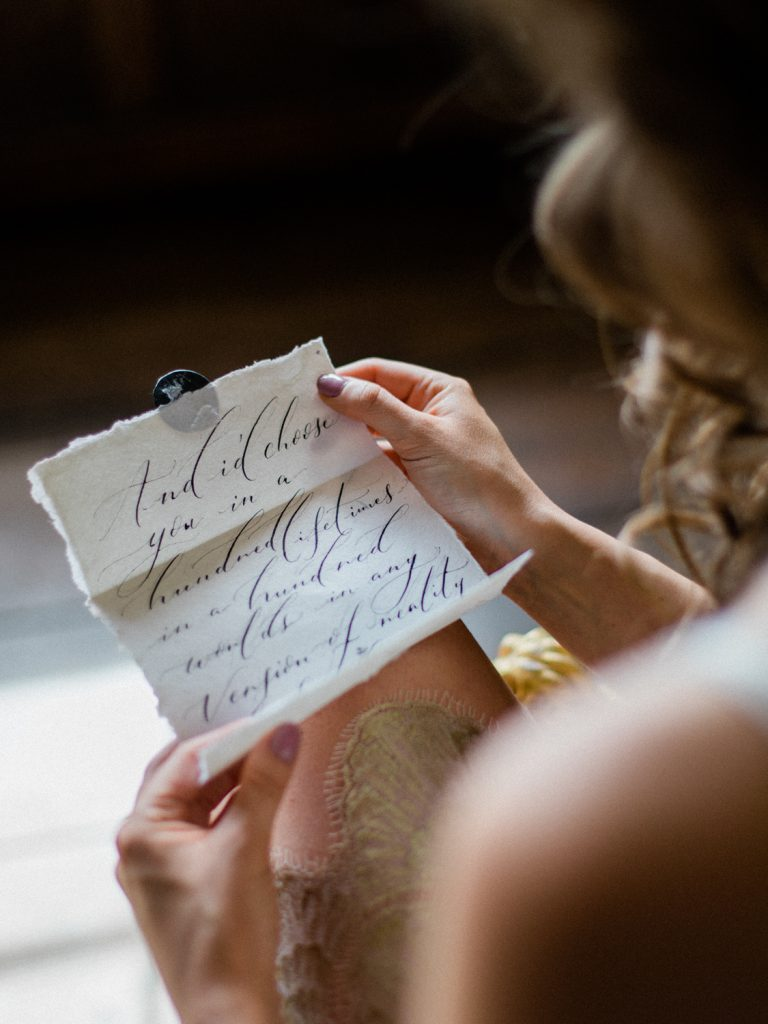 Wedding Calligraphy for a styled bridal shoot at Dorfold Hall Cheshire