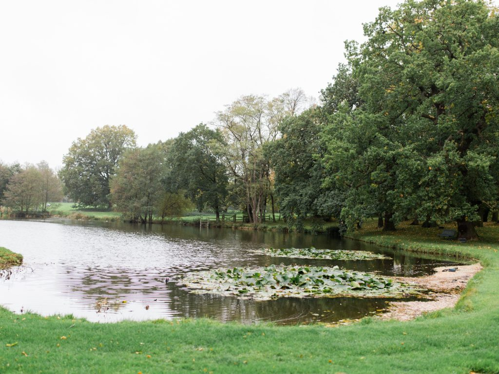 Lake at Autumn wedding at Dorfold Hall, Nantwich Cheshire