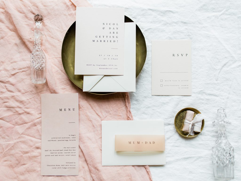 Wedding at Dorfold Hall with blush stationery suite by EYi Love Studios