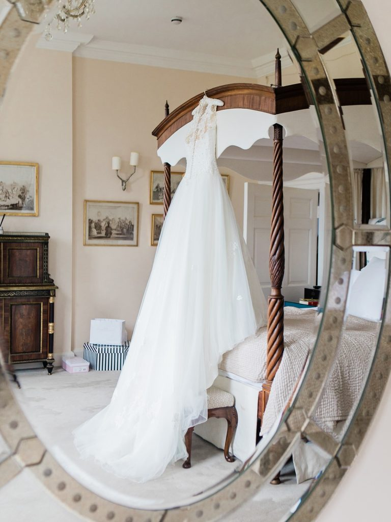 Justin Alexander Wedding Dress in the bridal suite at Iscoyd Park Wedding
