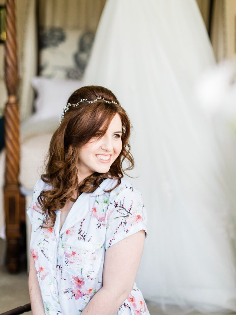 Bridal preparation at a summer Iscoyd Park Wedding