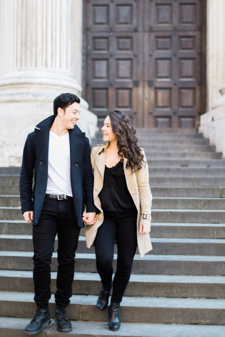 London Spring Engagement Session around St Paul's Cathedral in a fine art photography style.