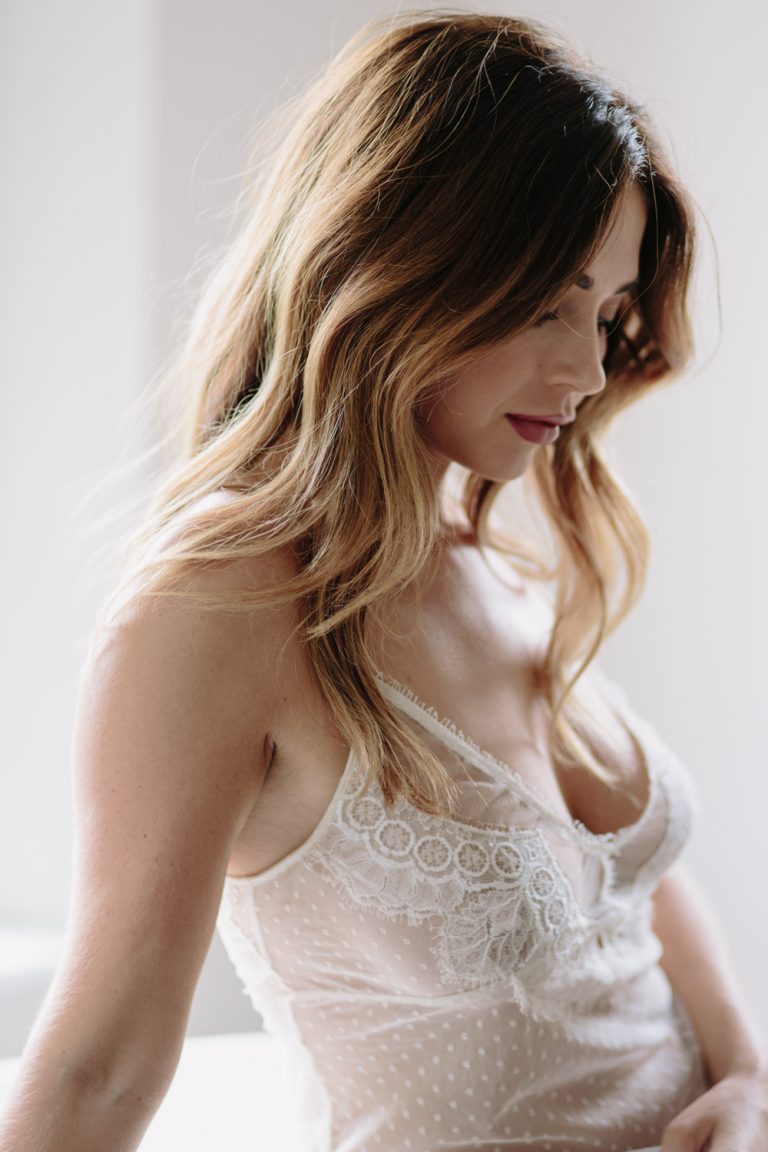 Bridal boudoir in Cheshire, UK featuring Shell Belle Couture sheer lace slip.