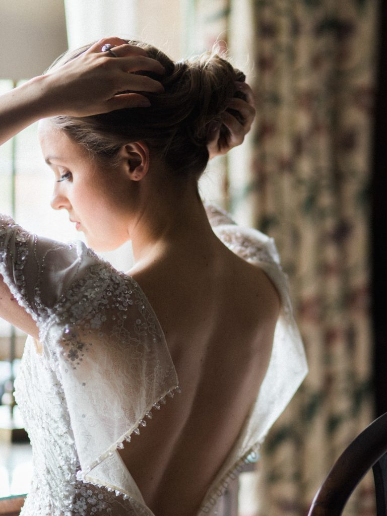 Bridal preparation at Dorfold Hall by fine art wedding photographer based in the UK.